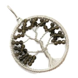 Tree of life hanger met facet geslepen groene Granaat, 925 zilver