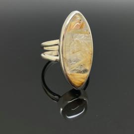 Rutielkwarts ring 17,75 mm/56, 925 zilver
