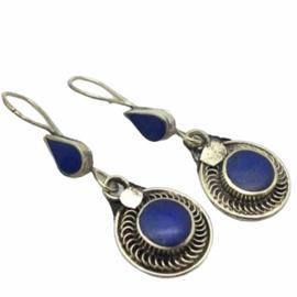 Lapis Lazuli oorhangers, zilver
