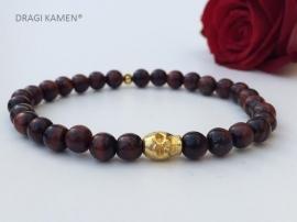 Armband met Rode Tijgeroog 6 mm ronde kralen en goud kleurige skull