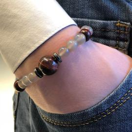 Heren armband Rode tijgeroog grijze agaat