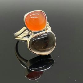 Carneool met Rookkwarts ring, 18,5 mm/58, 925 zilver