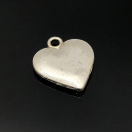 Hart Bedel, Middel,  metaal zilver kleur.