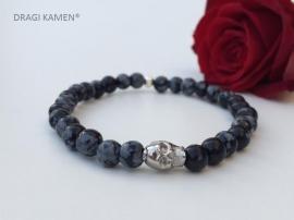 Armband met Sneeuwvlok Obsidiaan 6 mm ronde kralen en zilver kleurige skull
