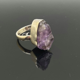 Amethist ruw ring, 17,5 mm/55, 925 zilver