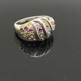 Toermalijn multi ring, 18 mm/56, 925 zilver
