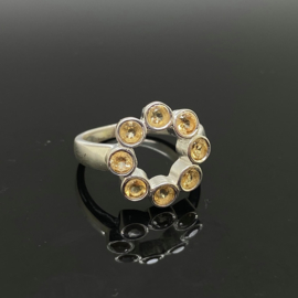 Citrien ring, 16,75 mm/53, 925 zilver