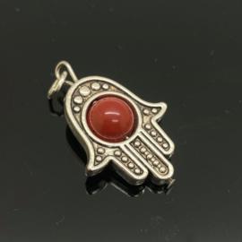 Beschermende Hamsa/Fatima's hand met rode Jaspis