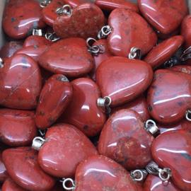 Rode Jaspis hart hanger