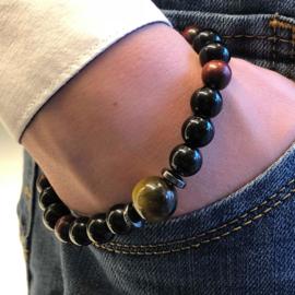 Heren armband tijgeroog zwarte obsidiaan