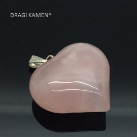 Roze kwarts/Rozenkwarts harthanger, 24 mm.