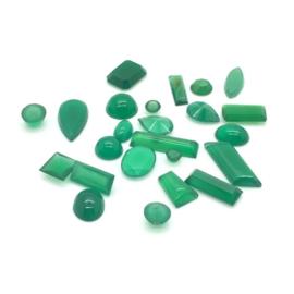 Groene chalcedoon cabochons, 20,5 ct. Top kwaliteit