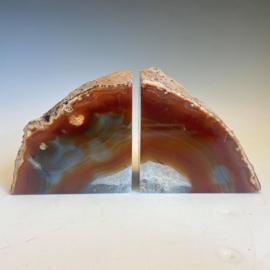 Boekensteunen, agaat, carneool, bergkristal, 1,8 kg