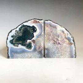 Boekensteunen, mosagaat, amethist, bergkristal, chalcedoon, 2,5 kg