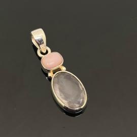 Morganiet met Andes Opaal hanger, 925 zilver
