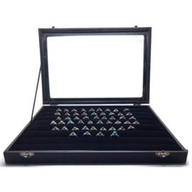 Starterspakket, 925 zilveren ringen, 50 stuks,  maat 16mm t/m 18 mm