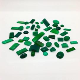 Groene chalcedoon cabochons, 193 ct. Top kwaliteit.