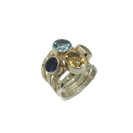 925/000 sterling zilveren ring met facet geslepen Topaas, Peridot, Water Saffier, Citrien