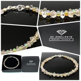 Dames en Heren armband met Welo Opaal, Herkimer Diamant en 925/000 zilveren sluiting.