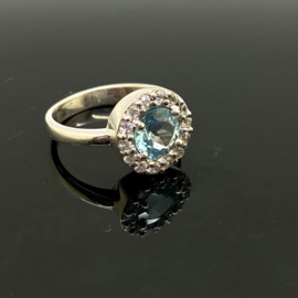 Topaas ring, 17mm/54, 925 zilver