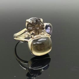 Rookkwarts Citrien Ioliet ring 17,5 mm/55, 925 zilver