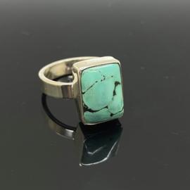 Turkoois ring, 18 mm/57, 925 zilver