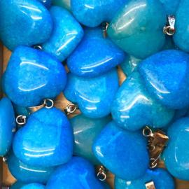 Jade, blauw hart hanger
