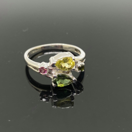 Toermalijn multi ring, 16,5 mm/52, 925 zilver