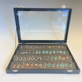 Starterspakket, 925 zilveren hangers, 55 stuks, diverse steensoorten
