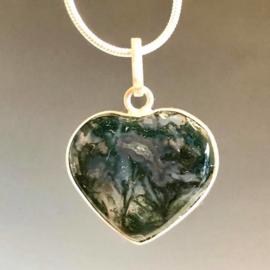 Mosagaat  hart in zilver, handgemaakte hanger.