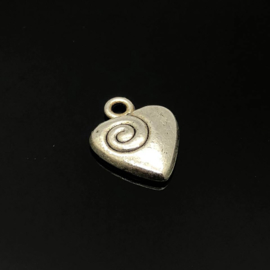 Hart Bedel, klein,  metaal zilver kleur.