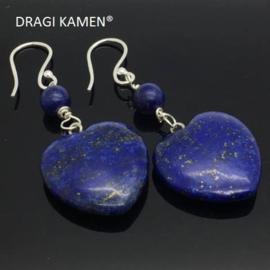 Handgemaakt 925/000 zilveren oorbellen met lapis lazuli.