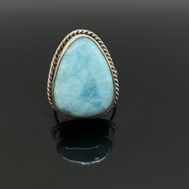 Larimar ring 16 mm/50, 925 zilver