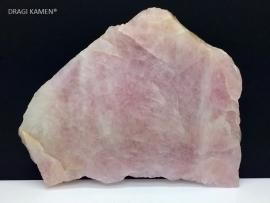 Roze kwarts/Rozenkwarts plaat gezaagd en gepolijst, 490 gram.