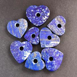 Lapis Lazuli hart hanger, plat, handgeslepen.