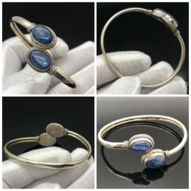 925/000 zilveren armband met geslepen Blauwe Kyaniet.