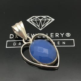 925/000 Zilveren hanger met facet geslepen Blauwe Chalcedoon.