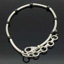 Handgemaakte 925/000 zilveren armband met zwarte Onyx
