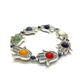 Hamsa/Fatima's hand Chakra armband, met 7 chakra stenen