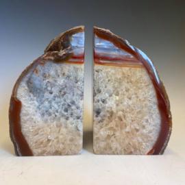 Boekensteunen, carneool, bergkristal, agaat, 3,3 kg
