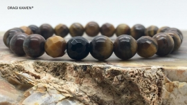 DRAGI KAMEN® - Armband met Tijgeroog 8 mm facet geslepen kralen.