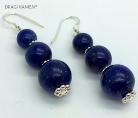 Lapis Lazuli AAA Blue oorbellen aan 925 zilveren oorhaak.