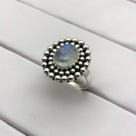 925/000 sterling zilveren ring met geslepen Maansteen, maat verstelbaar