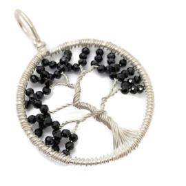Tree of life hanger met facet geslepen zwarte Spinel, 925 zilver