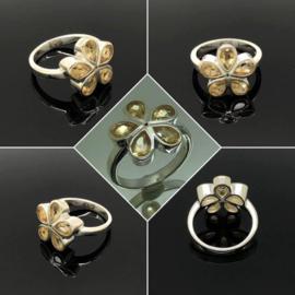 Zilveren ring met 5 facet geslepen Citrien , maat 17 / 53