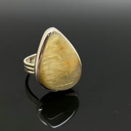 Rutielkwarts ring 17,5 mm/55, 925 zilver