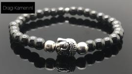 Handgeregen armband met Hematiet en Buddha.