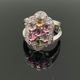 Toermalijn multi ring, 17,5 mm/55, 925 zilver