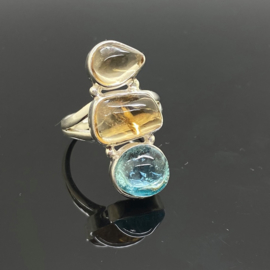 Citrien met Topaas ring, 18 mm/57, 925 zilver