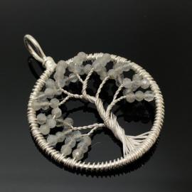 Tree of life hanger met facet geslepen Labradoriet, 925 zilver